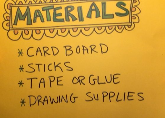 Materials to make stick puppets