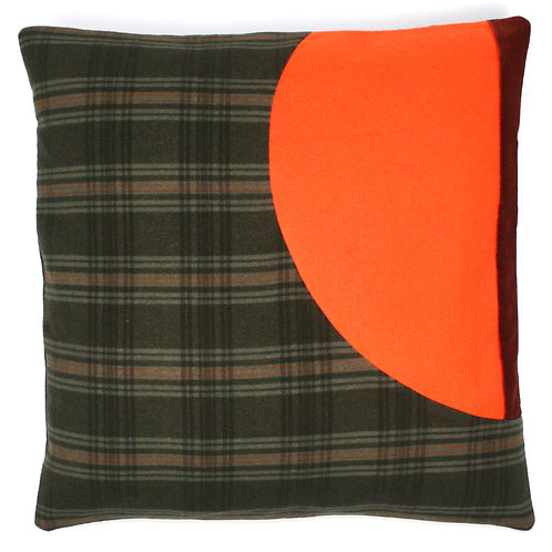 Green Check Wool, Orange Felt, Ginger Cotton Velvet 50cm Cushion Cover