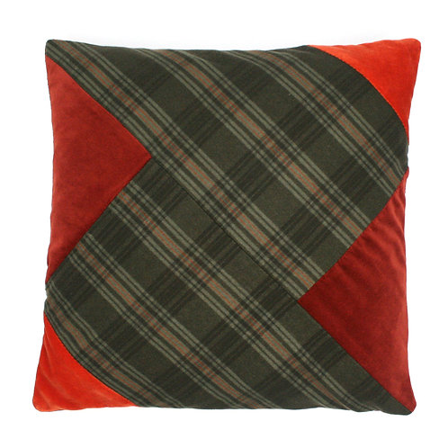 Green Check Wool Chevron, Ginger Cotton Velvet 50cm Cushion Cover