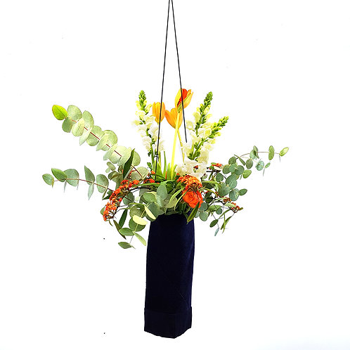 Navy Cotton Corduroy hanging vase.
