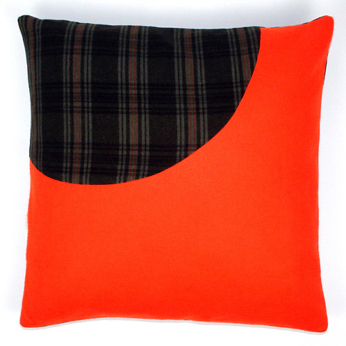 Orange Felt, Green Check Wool 50cm Cushion Cover
