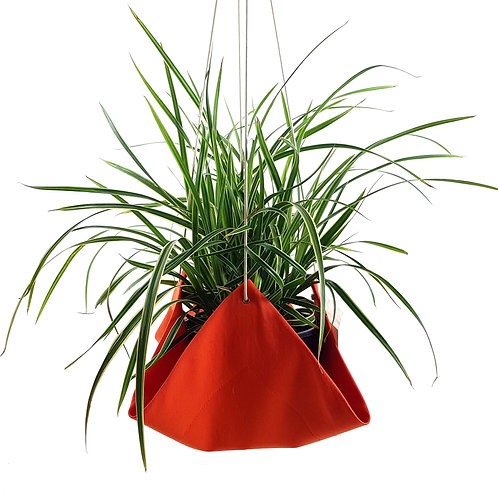 Recycled orange cotton indoor plant hammock.