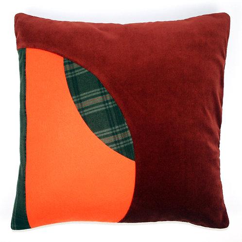 Orange Felt, Green Check Wool 50cm Cushion