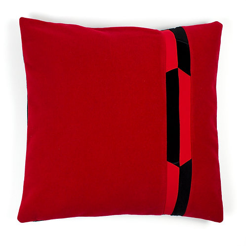 Red Cashmere Black Red Neoprene Geometric Chevron 50cm Cushion Cover