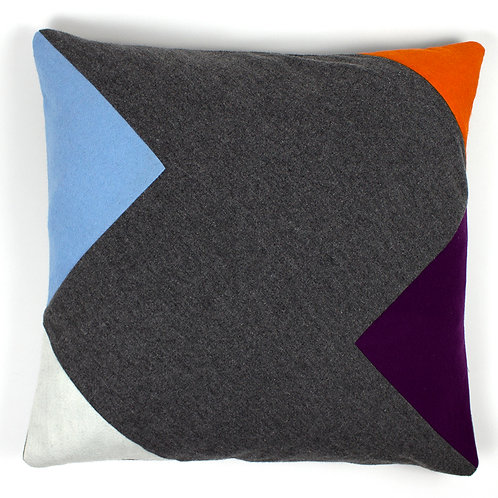 Geometric Chevon Grey Cashmere Purple Orange Navy Blue Felt 50cm Cushion Cover