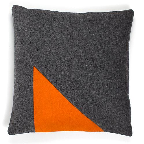 Orange Wedge Triangle Felt Grey Cashmere 50cm Cushion Cover
