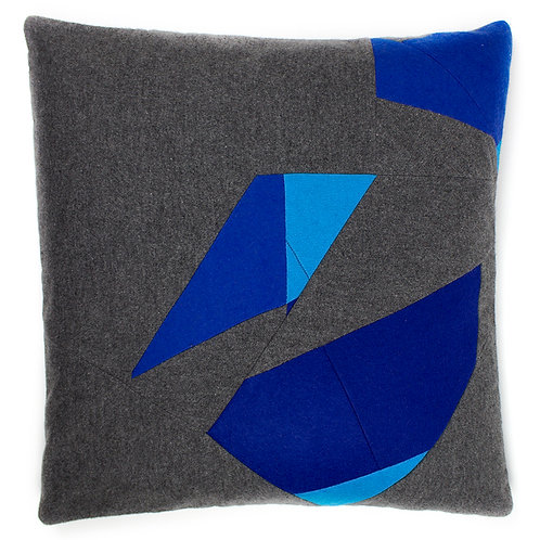 'Shattered Turing' Grey Cashmere Blue Felt Random Geometric 50cm Cushion Cover