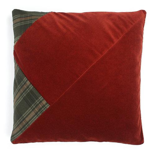 Ginger Cotton Velvet, Green Check Wool 50cm Cushion Cover