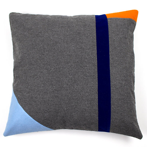 Beach Geometric Abstract Cashmere Grey Orange Blue Navy 50cm Cushion Cover