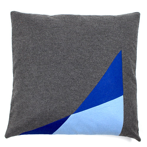 Grey Cashmere Blue Felt Shard Geometric Asymmetrical 50cm Cushion Cover