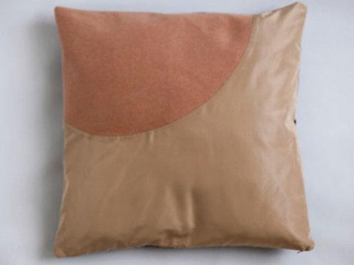 Pink Peach Sofa Cushion. Silk Taffeta and Cotton