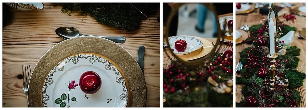 Décoration de table de mariage or et rouge
