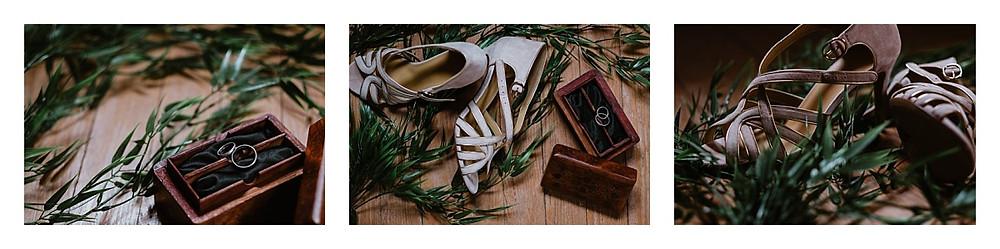 alliances et chaussures mariée