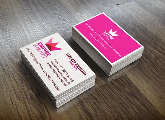 'Empire Event' business card design.