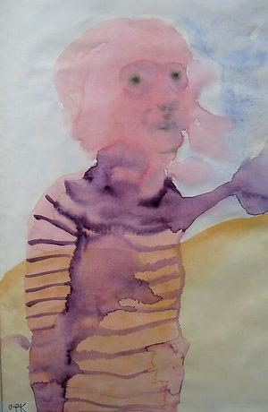 Självporträtt i akvarell, Ulla-Pia Könönen.
