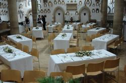 Reception tables set up