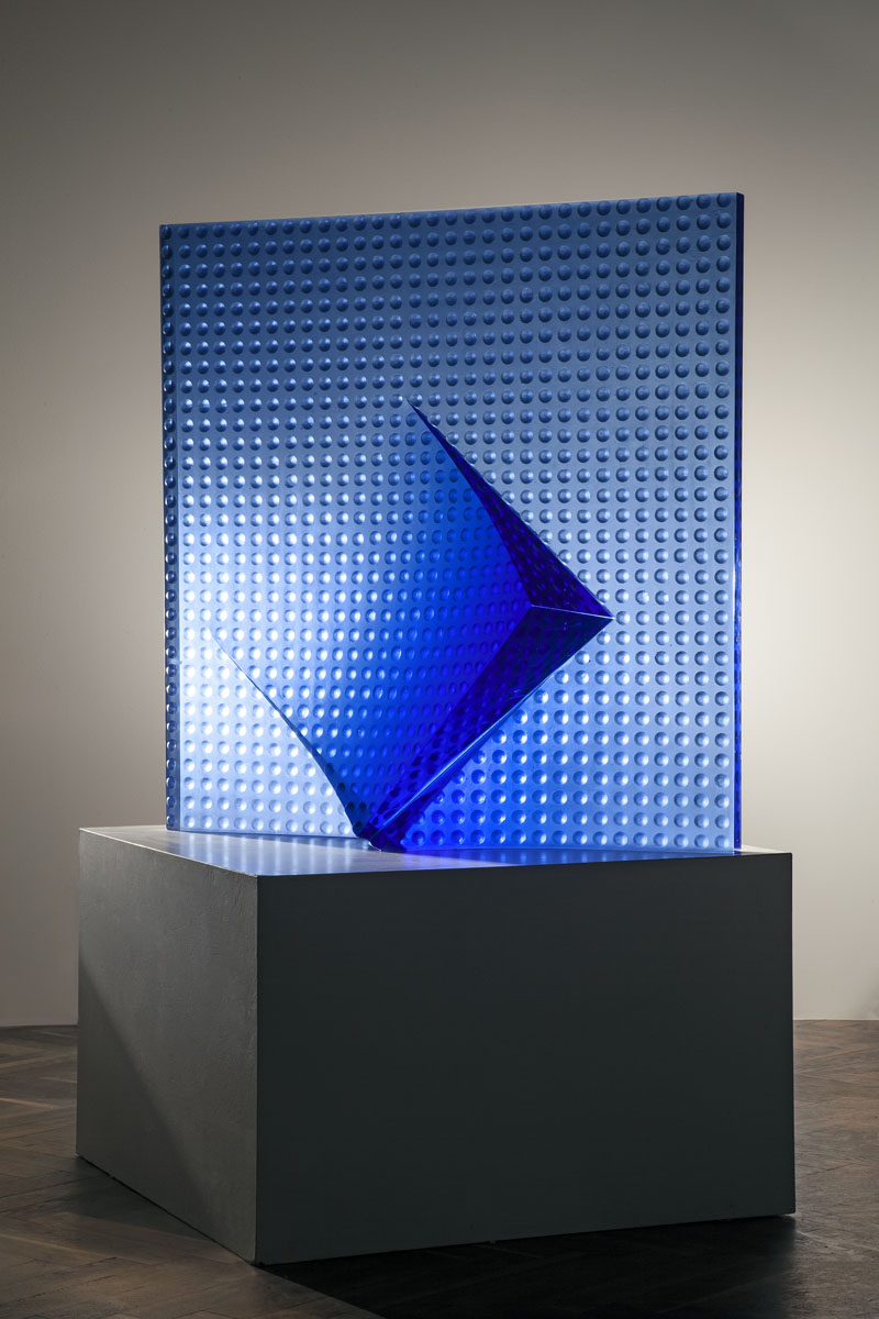 BLUE BROKEN GEOMETRY 31 x 31 x 10in