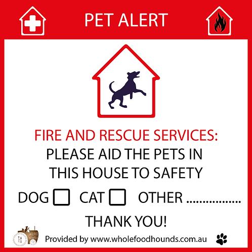 Pet Emergency Window Decal
