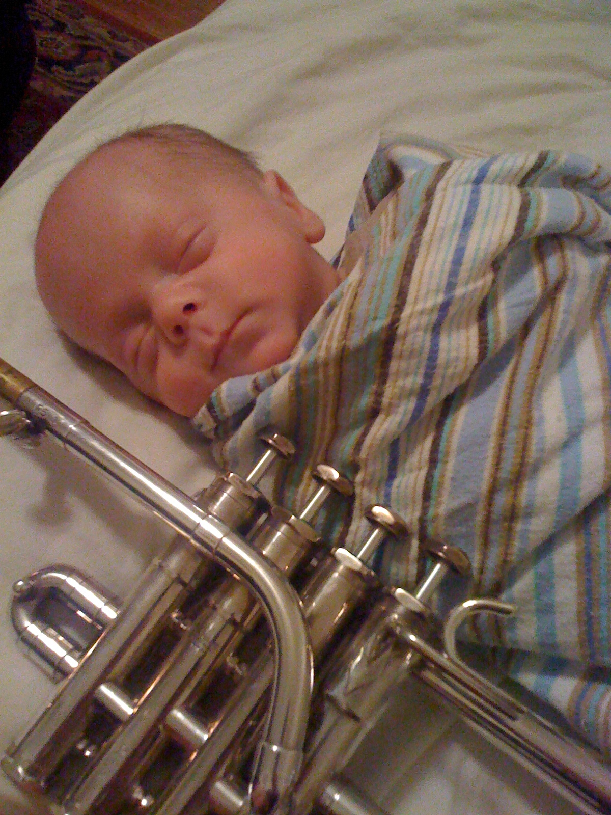 My son Peter's first trumpet lesson.