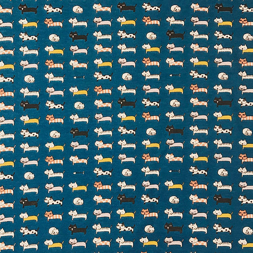 cats and fishbones (blue)