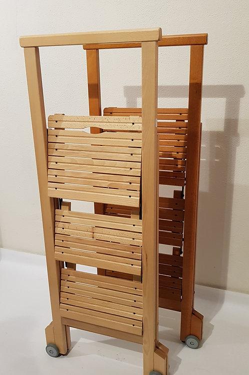 Escalera madera 3 peldaños natural/cerezo