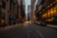 downtown pittsburgh, blurred lights, cars, buildings