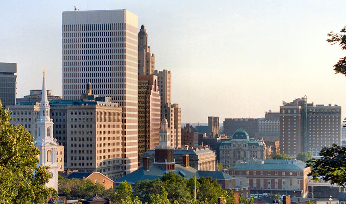 Providence, Rhode Island cityscape with white church steeple