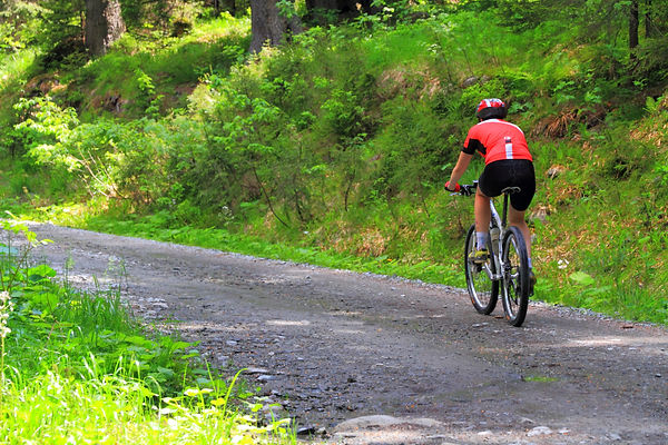 Person riding bicycle on trail with foliage wearing red shirt