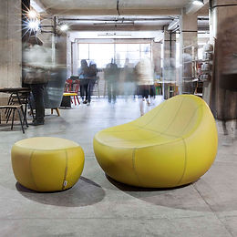 Baby Flirtstone armchair and footstool - Leather Zaffiro