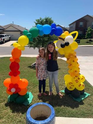 Surprise balloons for a birthday parade
