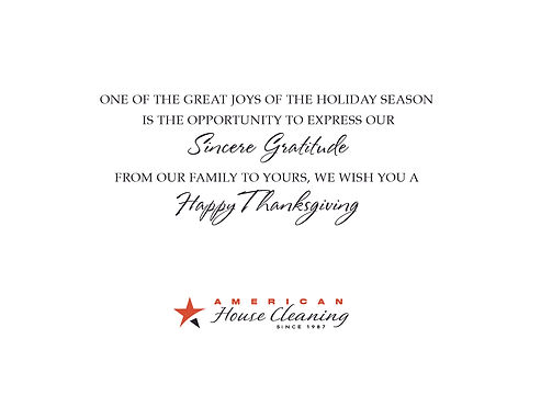 American House Cleaning Thankgiving Card