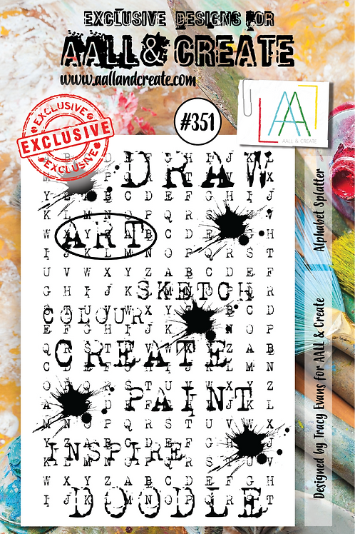 AALL and Create A7 Stamp Set #351 - Alphabet Splattered