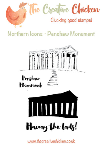 The Creative Chicken 'Penshaw Monument' A6 Rubber Stamp