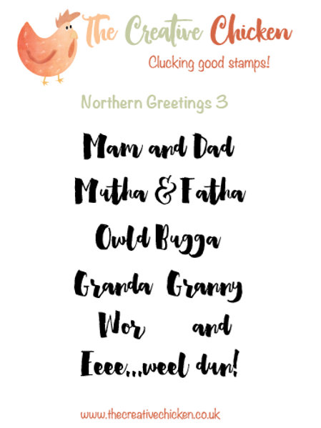 The Creative Chicken 'Northern Greetings 3' Rubber Stamp Set