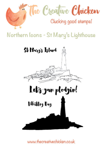 The Creative Chicken 'St Mary's Lighthouse' A6 Rubber Stamp