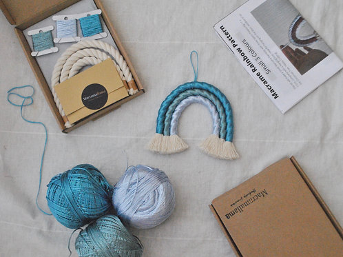 Satin Small Aquamarine Macrame Rainbow Kit