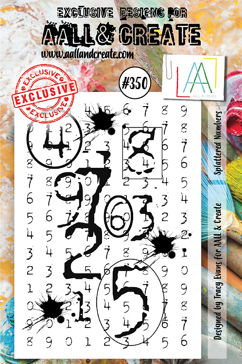 AALL and Create A7 Stamp Set #350 - Splattered Numbers