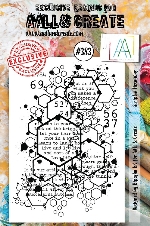 AALL and Create A7 Stamp Set #383 - Scripted Hexagons