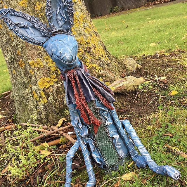 Our Hartley #Hare #upcycled #powertex #garden #ornament is waiting for #spring to arrive