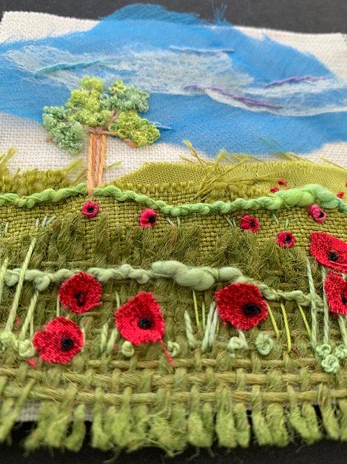 Creative Hand Embroidery Mini Landscape Kit - Poppy Meadow
