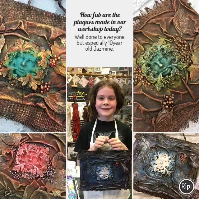 #powertex is non-toxic so great for #kids. Check out the #greenman plaques 10 year old Jazmine made