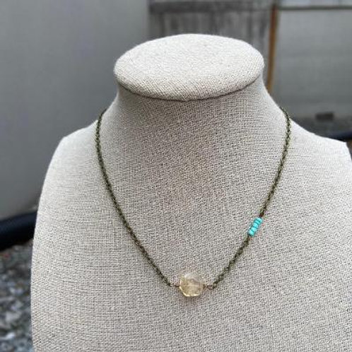 VD- Citrine Oval with Turquoise