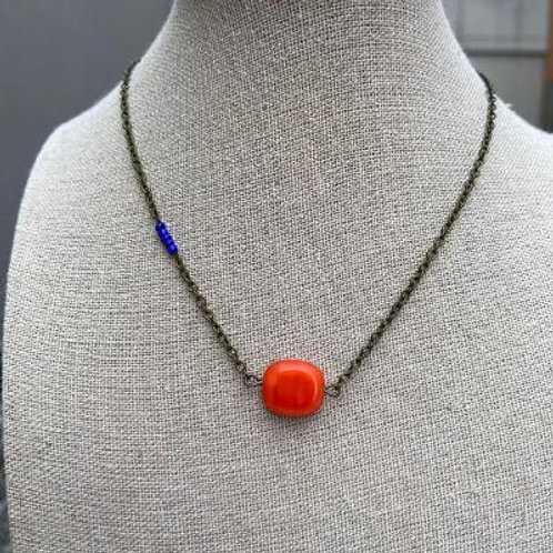 VD- SOLD! Orange Square Bead with Blue