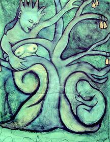 16. MF - Tree Goddess, charcoal & pastel