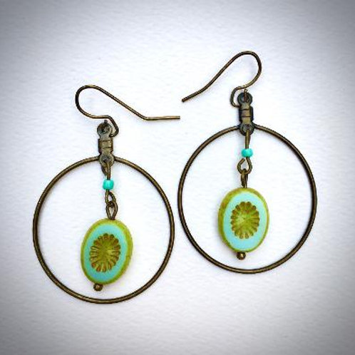VD- Antique Gold/ Turquoise Earrings