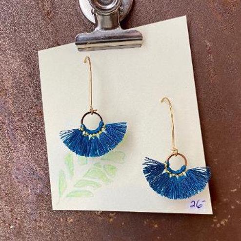 VD- Blue Tassel Earring