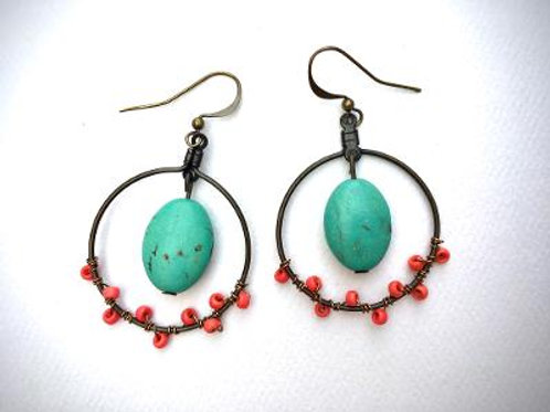 VD- Turquoise Oval Earrings