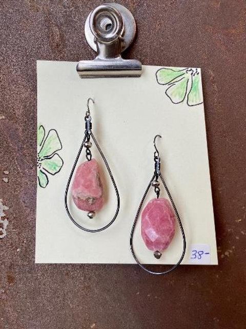 VD- Pink Rhodonite Earrings