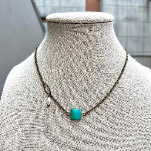 VD- Square Turquoise with Pearl