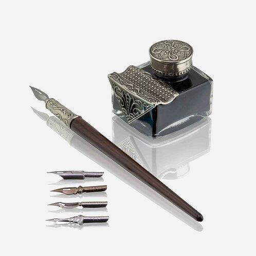 Set Scrittura Con Penna In Legno e Calamaio Classico